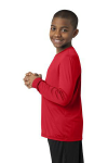 True Red Sport-Tek Youth Long Sleeve Competitor Tee as seen from the sleeveleft