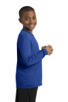True Royal Sport-Tek Youth Long Sleeve Competitor Tee as seen from the sleeveright