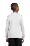 White Sport-Tek Youth Long Sleeve Competitor Tee as seen from the back