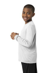 White Sport-Tek Youth Long Sleeve Competitor Tee as seen from the sleeveleft