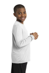 White Sport-Tek Youth Long Sleeve Competitor Tee as seen from the sleeveright