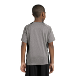Vnt He Black Sport-Tek Youth Heather Colorblock Contender Tee as seen from the back