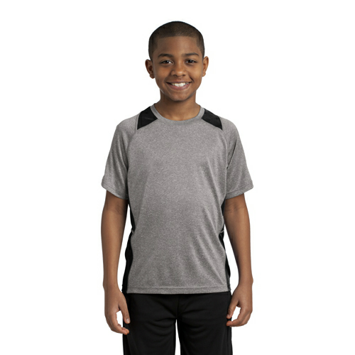 Vnt He Black Sport-Tek Youth Heather Colorblock Contender Tee as seen from the front