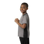 Vnt He Black Sport-Tek Youth Heather Colorblock Contender Tee as seen from the sleeveleft