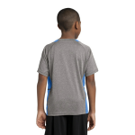 Vnt He Car Blu Sport-Tek Youth Heather Colorblock Contender Tee as seen from the back