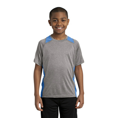 Vnt He Car Blu Sport-Tek Youth Heather Colorblock Contender Tee as seen from the front