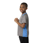 Vnt He Car Blu Sport-Tek Youth Heather Colorblock Contender Tee as seen from the sleeveleft