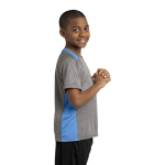 Vnt He Car Blu Sport-Tek Youth Heather Colorblock Contender Tee as seen from the sleeveright