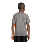 Vnt He Dp Orng Sport-Tek Youth Heather Colorblock Contender Tee as seen from the back