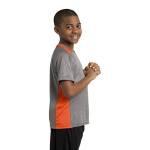 Vnt He Dp Orng Sport-Tek Youth Heather Colorblock Contender Tee as seen from the sleeveright