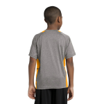 Vnt He Gold Sport-Tek Youth Heather Colorblock Contender Tee as seen from the back