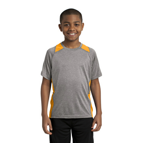 Vnt He Gold Sport-Tek Youth Heather Colorblock Contender Tee as seen from the front