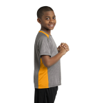 Vnt He Gold Sport-Tek Youth Heather Colorblock Contender Tee as seen from the sleeveright