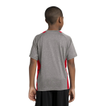 Vnt He Tr Red Sport-Tek Youth Heather Colorblock Contender Tee as seen from the back
