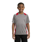 Vnt He Tr Red Sport-Tek Youth Heather Colorblock Contender Tee as seen from the front