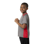Vnt He Tr Red Sport-Tek Youth Heather Colorblock Contender Tee as seen from the sleeveleft