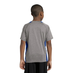 Vnt He Tr Royl Sport-Tek Youth Heather Colorblock Contender Tee as seen from the back