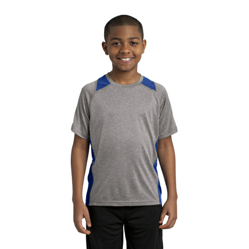 Vnt He Tr Royl Sport-Tek Youth Heather Colorblock Contender Tee as seen from the front