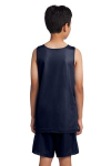 True Navy Wh Sport-Tek Youth PosiCharge Classic Mesh ™ Reversible Tank as seen from the back