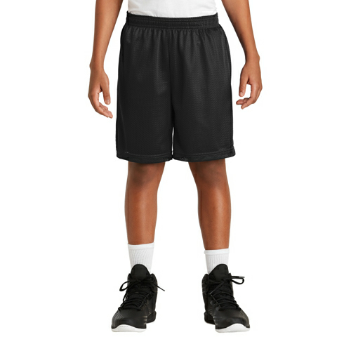 Black Sport-Tek Youth PosiCharge Classic Mesh ™ Short as seen from the front