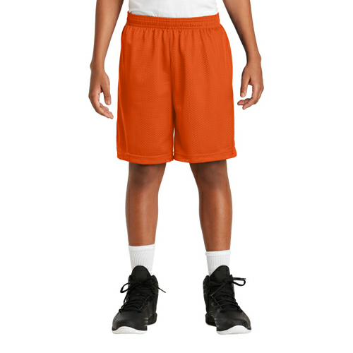 Deep Orange Sport-Tek Youth PosiCharge Classic Mesh ™ Short as seen from the front