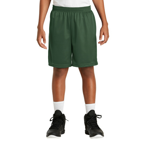 Forest Green Sport-Tek Youth PosiCharge Classic Mesh ™ Short as seen from the front