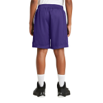 Purple Sport-Tek Youth PosiCharge Classic Mesh ™ Short as seen from the back