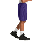 Purple Sport-Tek Youth PosiCharge Classic Mesh ™ Short as seen from the sleeveright