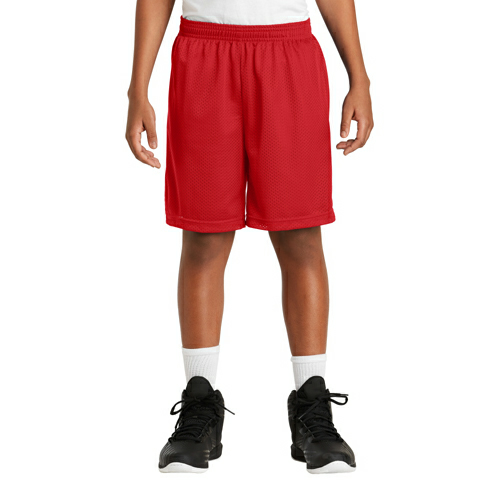 True Red Sport-Tek Youth PosiCharge Classic Mesh ™ Short as seen from the front
