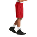 True Red Sport-Tek Youth PosiCharge Classic Mesh ™ Short as seen from the sleeveright