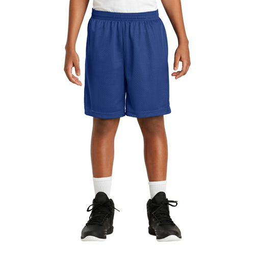 True Royal Sport-Tek Youth PosiCharge Classic Mesh ™ Short as seen from the front