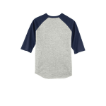 Heathr Gry Nvy Sport-Tek Youth Colorblock Raglan Jersey as seen from the back