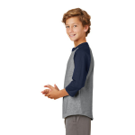 Heathr Gry Nvy Sport-Tek Youth Colorblock Raglan Jersey as seen from the sleeveleft