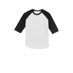 White Black Sport-Tek Youth Colorblock Raglan Jersey as seen from the front