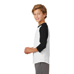 White Black Sport-Tek Youth Colorblock Raglan Jersey as seen from the sleeveleft