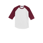 White Cardinal Sport-Tek Youth Colorblock Raglan Jersey as seen from the front