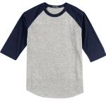 White Cardinal Sport-Tek Youth Colorblock Raglan Jersey as seen from the sleeveleft