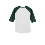 White Forest Sport-Tek Youth Colorblock Raglan Jersey as seen from the back