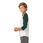 White Forest Sport-Tek Youth Colorblock Raglan Jersey as seen from the sleeveleft