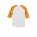 White Gold Sport-Tek Youth Colorblock Raglan Jersey as seen from the back