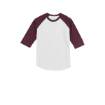 White Maroon Sport-Tek Youth Colorblock Raglan Jersey as seen from the front
