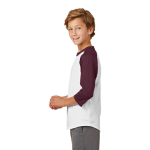 White Maroon Sport-Tek Youth Colorblock Raglan Jersey as seen from the sleeveleft
