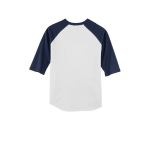 White Navy Sport-Tek Youth Colorblock Raglan Jersey as seen from the back