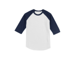 White Navy Sport-Tek Youth Colorblock Raglan Jersey as seen from the front