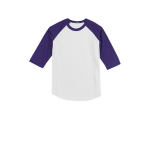 White Purple Sport-Tek Youth Colorblock Raglan Jersey as seen from the front