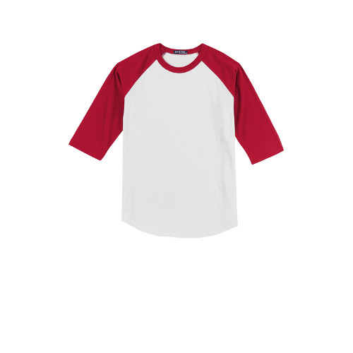White Red Sport-Tek Youth Colorblock Raglan Jersey as seen from the front
