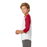 White Red Sport-Tek Youth Colorblock Raglan Jersey as seen from the sleeveleft