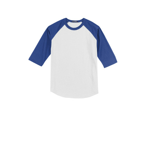 White Royal Sport-Tek Youth Colorblock Raglan Jersey as seen from the front