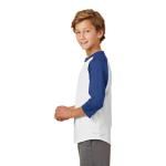 White Royal Sport-Tek Youth Colorblock Raglan Jersey as seen from the sleeveleft