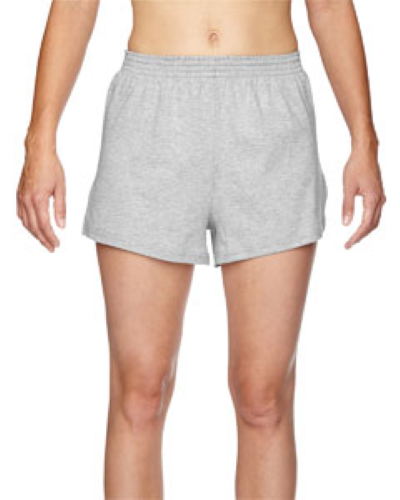 Grey Heather Juniors' Jersey-Knit Cheer Short as seen from the front
